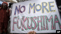"A demonstrator holds a ""No more Fukushima"" sign during a rally, protesting against restarting the Ohi nuclear power plant's reactors in front of the prime minister's official residence in Tokyo, Saturday, June 16, 2012."