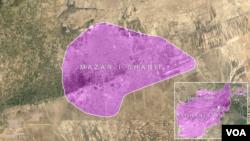 Mapa de Mazar-i-Sharif en Afganistán, donde el consulado de Alemania fue atacado con un coche-bomba.
