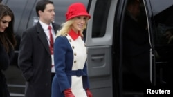 Kellyanne Conway, adviser to U.S. President-elect Donald Trump, departs for a church service before the 58th Presidential Inauguration in Washington, Jan. 20, 2017.