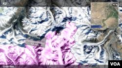 نقشه قله «کی ۲» در مرز پاکستان و چین