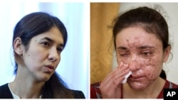 Bà Nadia Murad (trái) và bà Lamis Haji Bashar là hai trong số hàng ngàn phụ nữ Yazidi bị nhóm Nhà nước Hồi giáo bắt cóc và bắt làm nô lệ tình dục.