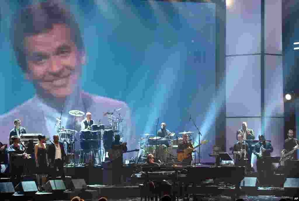 Stevie Wonder and the Rickey Minor Band perform a tribute to Dick Clark at the 40th Anniversary American Music Awards on Nov. 18, 2012, in Los Angeles.