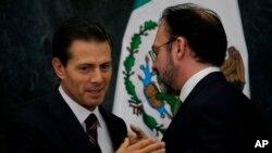 """Videgaray dijo que Peña Nieto y Trump, sellaron un """"acuerdo de caballeros"""" para no volver a hablar públicamente de quién va a pagar el muro fronterizo que Trump pretende construir y forzar luego a México a sufragarlo."""