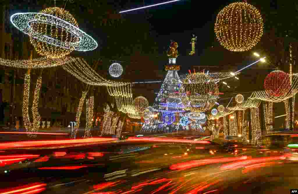 Christmas decorations are seen on the streets in central Tbilisi, Georgia, Dec. 24, 2019.