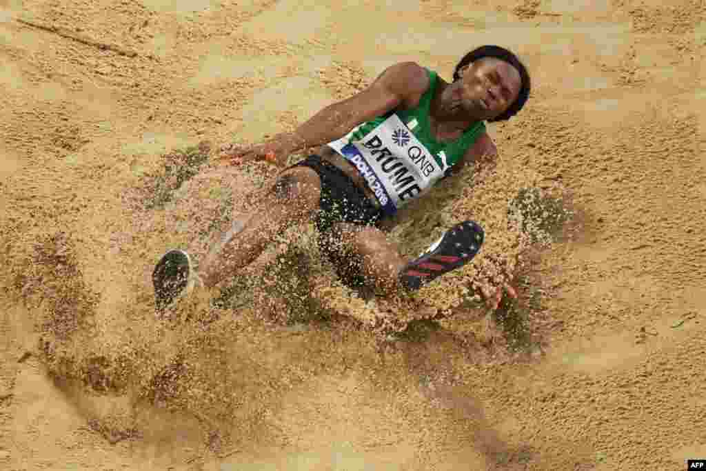 Nigeria's Ese Brume competes in the Women's Long Jump final at the 2019 IAAF Athletics World Championships at the Khalifa International stadium in Doha, Qatar.