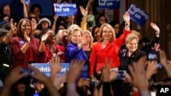 美国民主党总统参选人希拉里·克林顿在纽约州进行竞选活动。