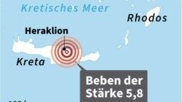 Setidaknya satu tewas dalam gempa bumi besar di Kreta: peta.(LAURENCE SAUBADU, THORSTEN EBERDING / AFP)