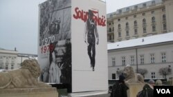 波蘭首都華沙街頭的宣傳畫,反映團結工會和羅馬教宗約望保祿二世。