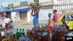 Một khu buôn bán trong thành phố Abidjan