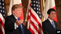 도널드 트럼프 미국 대통령과 아베 신조 일본 총리.