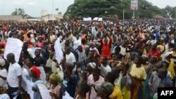 Les manifestants défilent contre le rapport de la Commission des droits de l'homme des Nations Unies sur le Burundi, Bujumbura, le 11 février 2017.