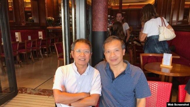 Nhà hoạt động Phạm Minh Hoàng và Nguyễn Văn Đài tại Pháp tháng 8/2018. Photo Facebook Nguyễn Văn Đài