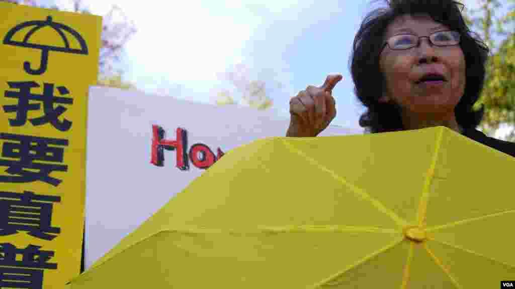 刘雅雅组织声援香港游行队伍(美国之音国符拍摄)