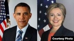 美国总统奥巴马和前美国国务卿希拉里•克林顿