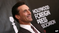 Jon Hamm arrives at The Hollywood Foreign Press Association's Annual Grants Banquet at the Beverly Wilshire hotel, Aug. 13, 2015, in Beverly Hills, California.