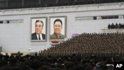 지난해 2월 평양 김일성 광장에서 북한의 3차 핵실험 성공을 자축하는 대규모 군중대회가 열렸다. (자료사진)