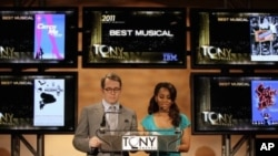 Matthew Broderick and Anika Noni Rose read the nominations for the 2011 Tony Awards, honoring Broadway, in New York, Tuesday, May 3, 2011
