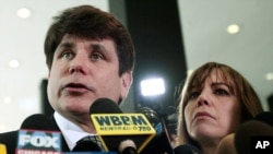 FILE - Former Illinois Gov. Rod Blagojevich speaks to the media in Chicago, June 27, 2011.