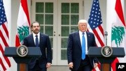 2016年7月25日川普总统和黎巴嫩总理萨阿德.哈里里在白宫举行两国联合声明记者会。