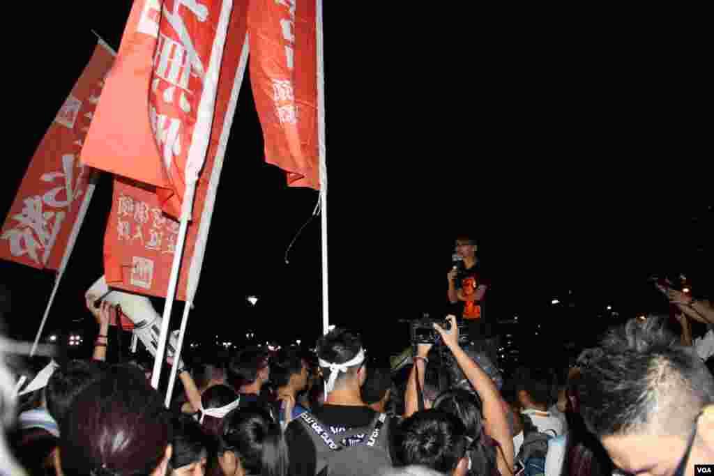 和平占中运动举行启动占中运动公民抗命集会 (美国之音图片/海彦拍摄)