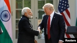 U.S. President Trump holds a joint news conference with Indian Prime Minister Modi in the Rose Garden.
