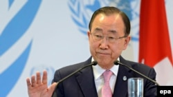 Le Secrétaire général des Nationsunies Ban Ki-moon lors d'une conférence de presse tenue après la Conférence de Genève sur la prévention extrémisme violent, au siège européen des Nations Unies à Genève, Suisse, 08 avril 2016. epa/ MARTIAL TREZZINI