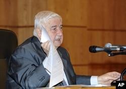 Walid al-Mouallem, durant sa conférence de presse du 14 novembre 2011 à Damas