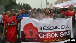 Women attend a demonstration calling on the government to rescue kidnapped schoolgirls, Abuja, Nigeria, April, 30. 2014.