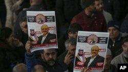 استنبول میں سعودی صحافی جمال خشوگی کی ہلاکت کے خلاف مظاہرہ۔ 16 نومبر 2018