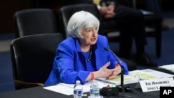 U.S. Treasury Secretary Janet Yellen testifies during a Senate Banking, Housing and Urban Affairs Committee hearing, on Capitol Hill, in Washington, Sept. 28, 2021.