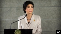 Thailand Prime Minister Yingluck Shinawatra addressed the media on December 10, 2013.