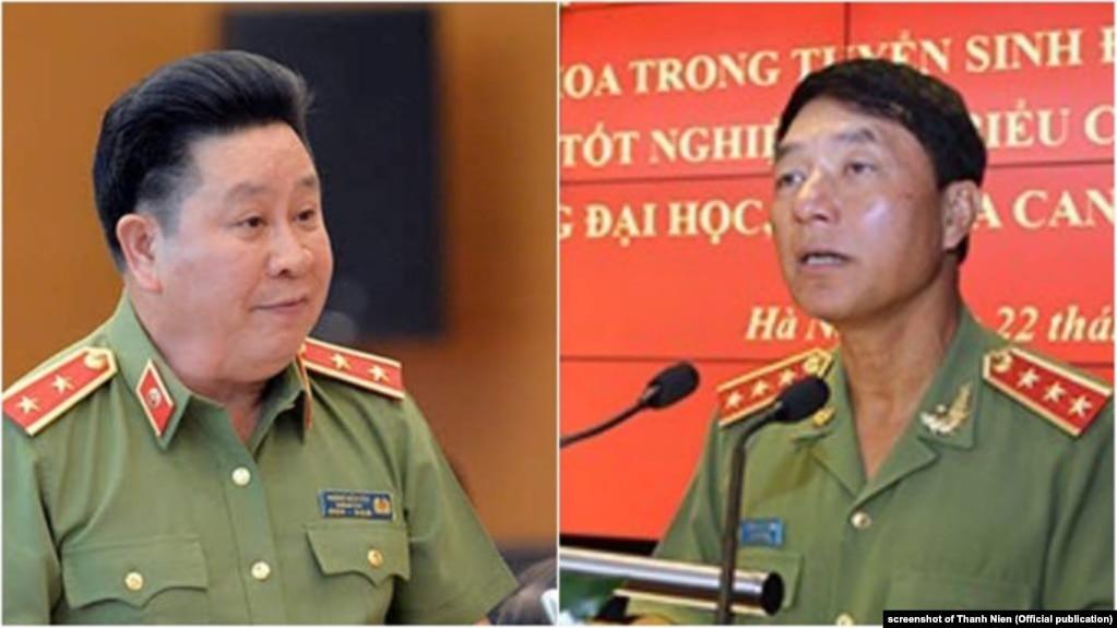 Hai tướng công an Bùi Văn Thành (trái) và Trần Việt Tân (phải) vừa bị hình thức kỷ luật của Đảng Cộng sản.