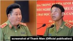 Hai tướng công an Bùi Văn Thành (trái) và Trần Việt Tân.