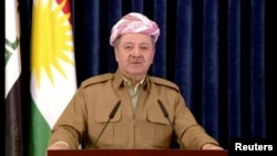 A still image taken from a video shows Kurdish President Masoud Barzani giving a televised speech in Erbil, Iraq, Oct. 29, 2017.