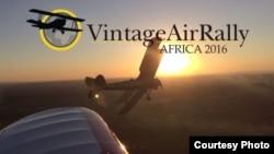 """L'affiche officielle de """"Vintage Air Rally"""" qui reliera la Crête à l'Afrique."""
