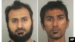 FILE - Broward Sheriff's Office booking photographs show Sheheryar Qazi, left, and Raees Qazi on November 29, 2012.