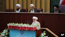 In this photo released by the official website of the office of the Iranian presidency, hard-line Iranian cleric Ayatollah Ahmad Jannati speaks during the inaugural meeting of the Assembly of Experts in Tehran, Iran, May 24, 2016.