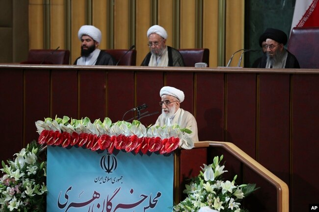 FILE - In this photo released by the official website of the office of the Iranian Presidency, Ayatollah Ahmad Jannati speaks during inaugural meeting of the Assembly of Experts in Tehran, May 24, 2016.