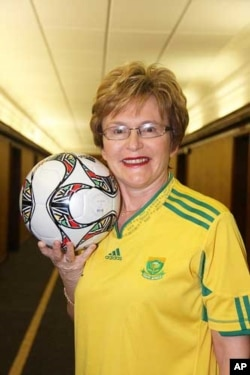 The leader of the main opposition Democratic Alliance, Helen Zille, during the soccer World Cup in South Africa in 2010