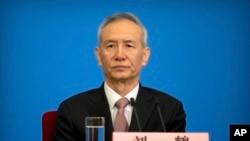 中國國務院副總理劉鶴2018年3月20日在北京見記者(美聯社)