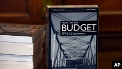 President Barack Obama's 2016 $4 trillion budget sits on a desk after being delivered to to the House Budget Committee office on Capitol Hill in Washington, Feb. 2, 2015.