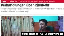 Hình Trịnh Xuân Thanh trên báo Đức, TAZ.
