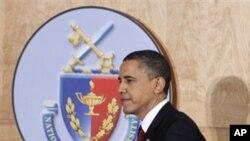 Le président Obama avait choisi le cadre de l'Université de Défense nationale, à Washington, pour expliquer lundi soir sa décision sur la Libye.