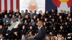 Барак Обама во время выступления в Денвере, Колорадо. 3 апреля 2013 года