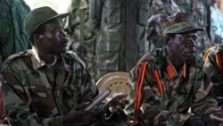 جورف کوونی رهبر ارتش مقاومت جنوب همراه با دستیارش وینست اوتی در یکی از مناطق اوبیه در جنوب سودان