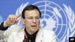 Ông Mario Raviglione, Giám đốc bộ phận đặc trách bài lao của WHO, nói về các công nghệ mới giúp các nước chống lại vi trùng lao kháng thuốc trong cuộc họp báo ở Geneve, Thụy Sĩ