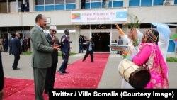 Le président somalien, Mohamed Abdullahi Mohamed, à Asmara, reçoit son homologue érythréen, Issaias Afeworki, à gauche, 2e à gauches, Erythrée, 28 juillet 2018. (Twitter/Villa Somalia)