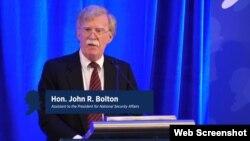 Savjetnik Bijele kuće za nacionalnu bezbjednost Džon Bolton govori u Vašingtonu, 10. septembar 2018.