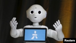 FILE - Pepper, an emotional Robot, greets conference attendees during the Wall Street Journal Digital Live (WSJDLive) conference at the Montage hotel in Laguna Beach, California October 20, 2015.