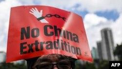 """抗議者2019年6月9日在香港參加集會。反對有爭議的引渡法案。他頂著標語""""不要引渡到中國""""。"""